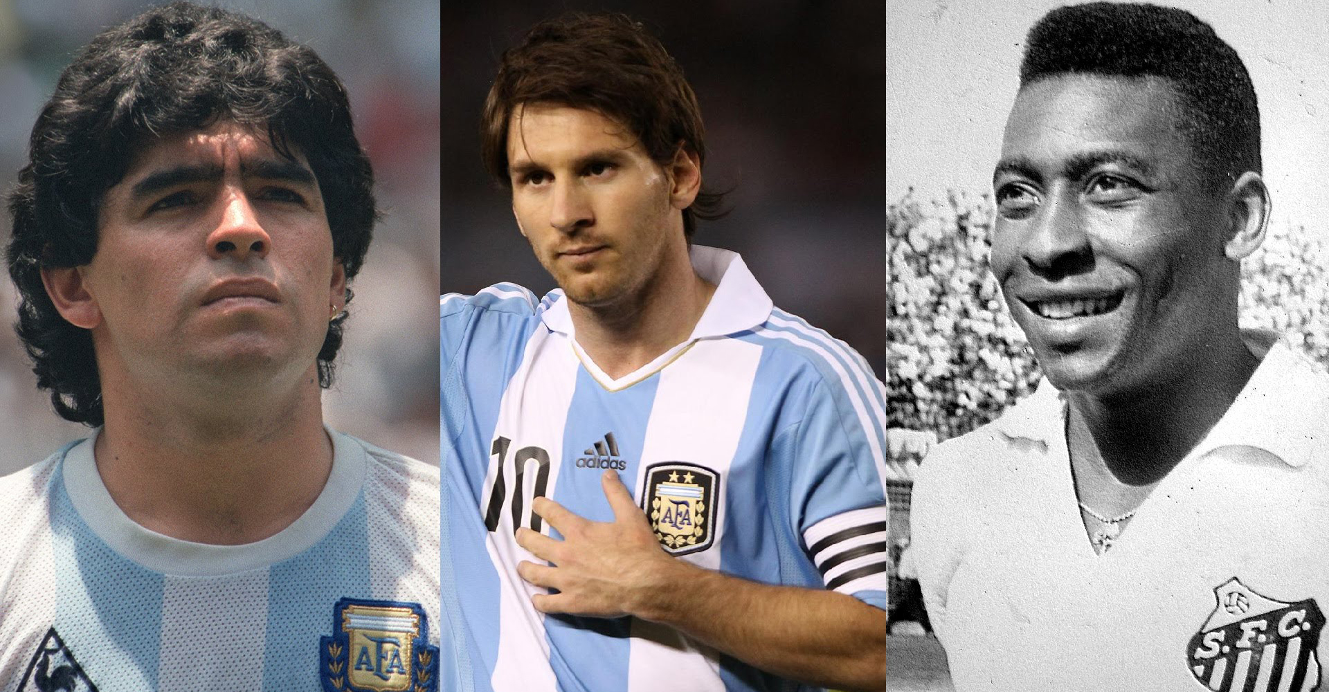 Lionel Messi, Diego Maradona and Pele, Known As The 3 GOATs