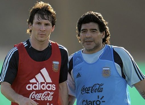 Lionel Messi and Diego Maradona Player Coach