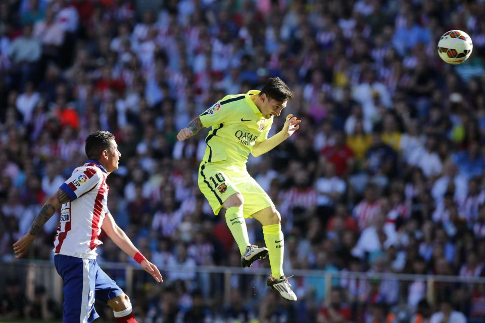 Lionel Messi Scores With A Header Against Atletico