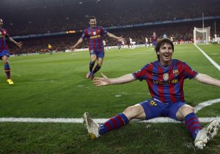 Lionel Messi On The Floor Celebrating Another Goal For FC Barcelona