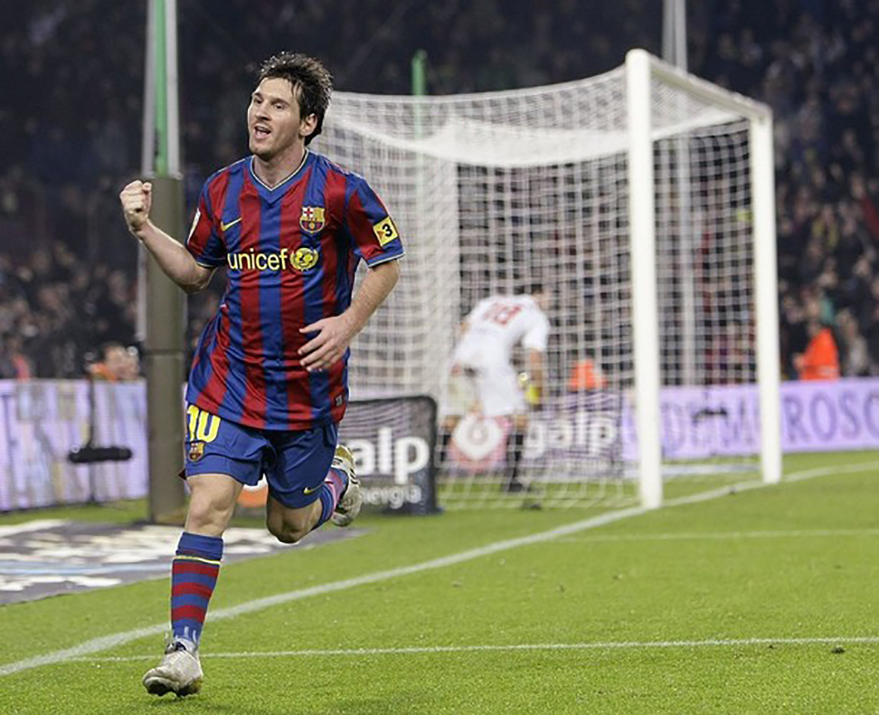Lionel Messi Celebrates Goal During FC Barcelona Match